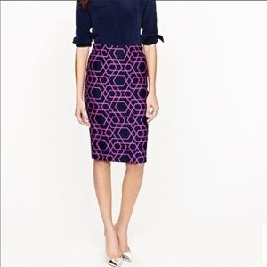 NWT jcrew pencil skirt geometric purple blue